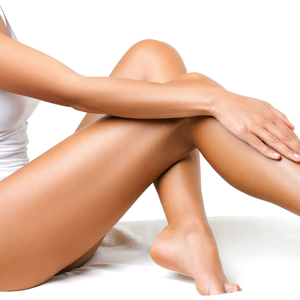 Women with smooth and toned legs.